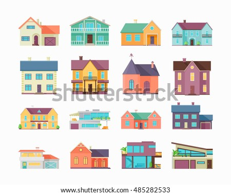 Big set of houses, buildings and architecture variations isolated on white. Countryside or city architecture. Part of series of modern buildings in flat design style. Real estate concept.