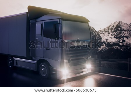 Big truck on night landscape background. Cargo concept. 3D Rendering