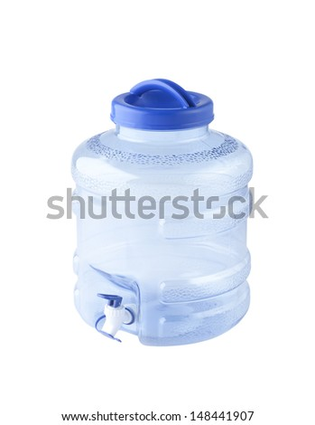 big water bottle with dispenser isolated on white background