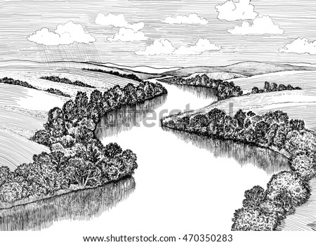 Big Zigzag river flows between beautiful valleys, digital ink drawing