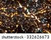 Biggest Slum in South America, Favela da Rocinha, in Rio de Janeiro. Aerial view at night with ulluminated streets and houses - stock photo