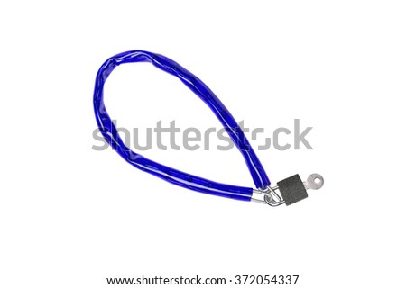 Bike chain lock isolated on white background.