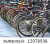 bike parking in big city - stock photo