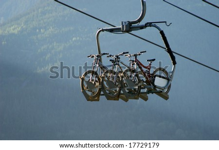 bikes on a chairlift
