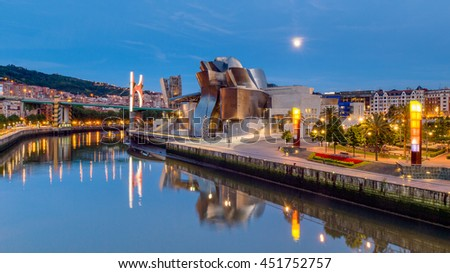 BILBAO, SPAIN - June 19, 2016: Guggenheim Museum on June 19, 2016 in Bilbao, Spain. This and futuristic museum was designed by Frank Gehry.