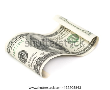 bill one hundred dollars on a white background