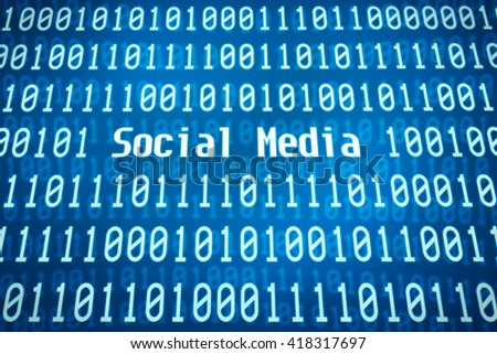 Binary code with the word Social Media in the center