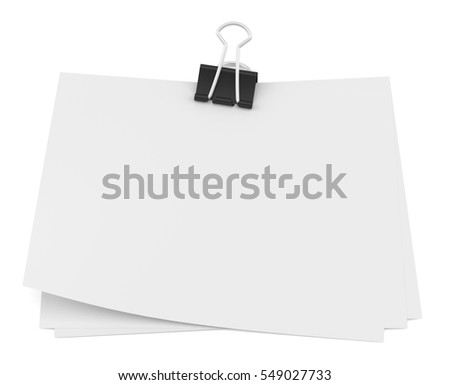 Binder clip and stack of paper. Isolated on white. 3D rendering