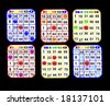 Bingo cards with various colors ready to play isolated over black - stock photo