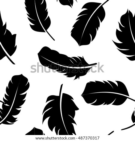 Bird Feather Hand Drawn Seamless Pattern Background  Illustration.