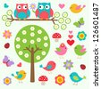 Birds and owls in spring forest.Raster version - stock