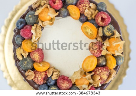 Birthday cake decoration with fruits