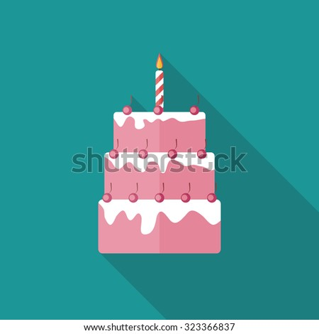 Birthday Cake Flat Icon with Long Shadow, Illustration