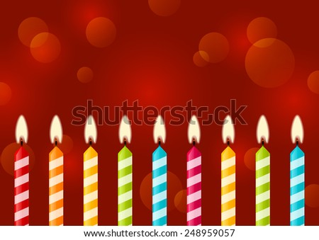 Birthday candles on red background