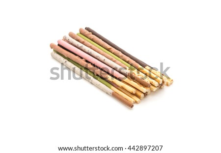 biscuit stick with mixed flavored on white background