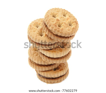 Biscuits with chocolate filling on a white background stock photo