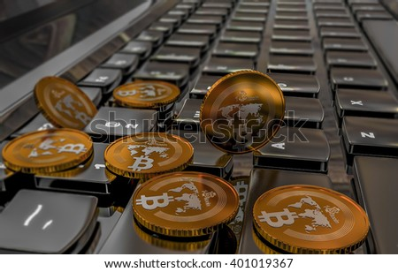 Bitcoin physical coin symbol on keyboard, 3D illustration