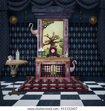 Bizarre room with fireplace, table, flamingos and other stuff inspired by Alice in wonderland fairytale - 3D and digital painted illustration