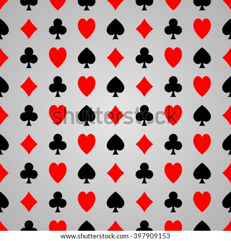 Black and red poker suit on grey background, seamless poker pattern.