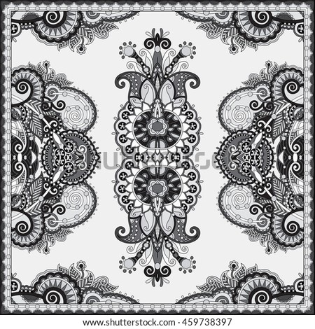 black and white authentic silk neck scarf or kerchief square pattern design in ukrainian style for print on fabric, raster version illustration
