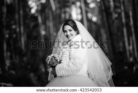 Black and white beautiful bride portrait in winter wedding day, photo session