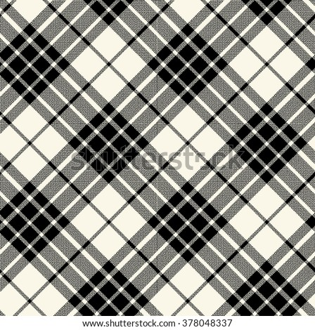 black and white bias plaid