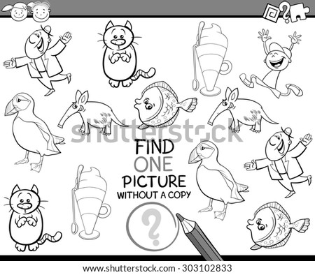 Black and White Cartoon Illustration of Finding Picture without a Copy Game for Preschool Children