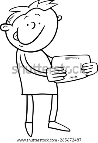 Black and White Cartoon Illustration of Kid Boy Playing on Tablet for Coloring Book