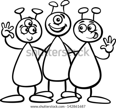 Black and white cartoon illustration of three funny aliens or martians