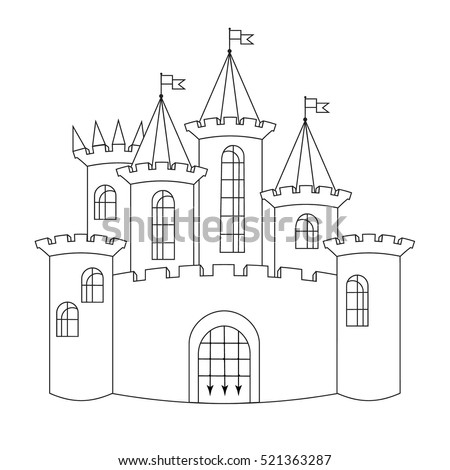 black and white castle contour line drawing isolated on white background raster illustration