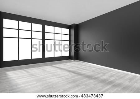 big window empty white room hardwood parquet floor stock illustration