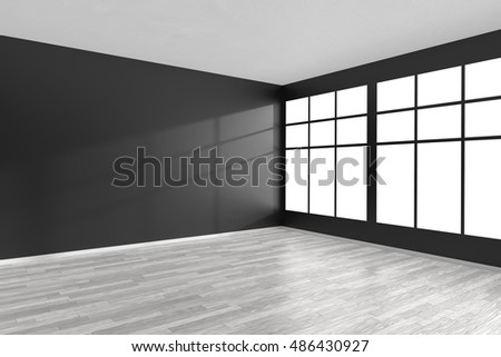 Black and white empty room with white hardwood parquet floor, black walls and big window and sunlight from window minimalist interior, 3d illustration