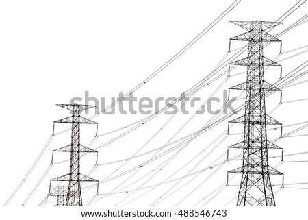 Black and white high voltage power on white background