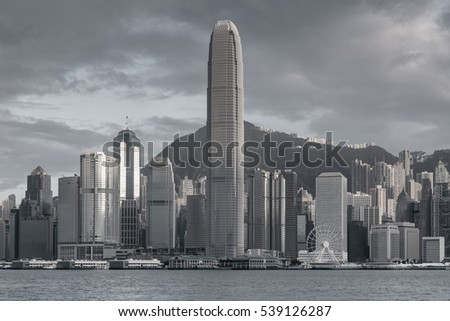 Black and White, Hong Kong central business downtown