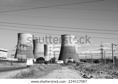 Black and white photo of power station with details