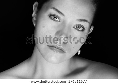 black and white portrait of a young beautiful woman