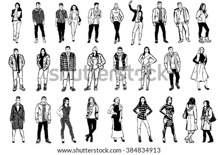 black and white  sketch of men and women in beautiful clothes