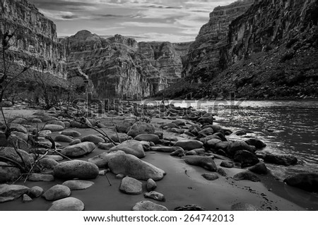 Black and white view of the Grand Canyon from the Colorado River.