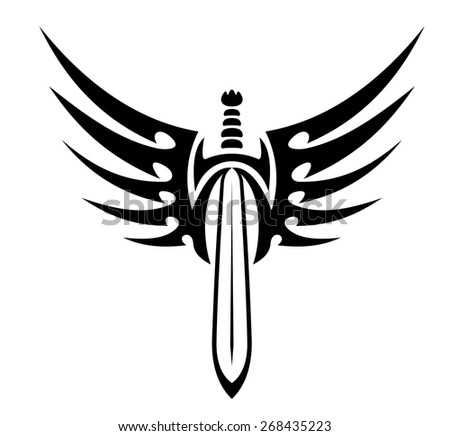 Black and white winged sword with stylized outspread feathers for tribal tattoo design