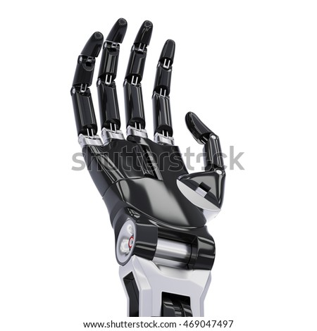 Black Android Hand Isolated On White Background 3d Illustration