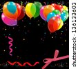 black Background with balloons. Raster - stock photo
