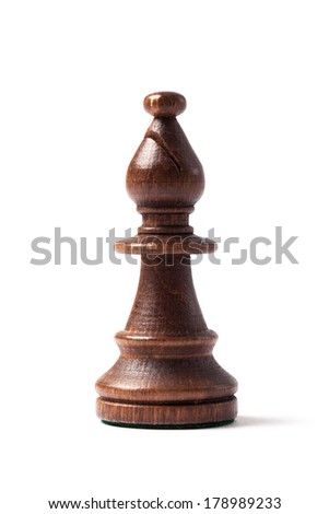Black bishop chess piece with clipping path, isolated on white background.