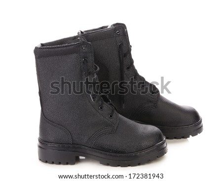 black boots men on a white background