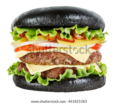Black burger isolated on white