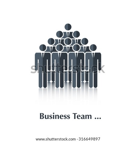 Black business people icon,sign,symbol,pictogram.Concept teamwork, business team,over white with text Business team,in flat stile
