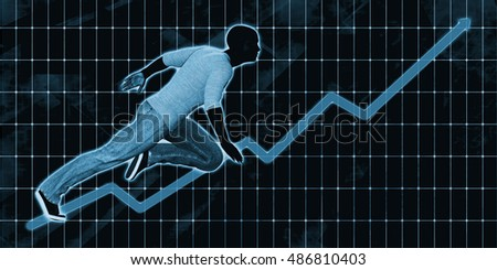 Black Businessman Charging Ahead on Blue Background Art