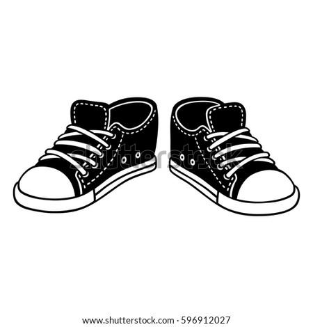 Black Canvas Sneakers Cartoon Drawing Classic Stock Vector ...