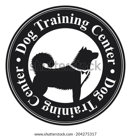 Black Circle Dog Training Center Icon, Sticker or Label With Dog Sign Isolated on White Background