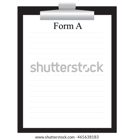 black clipboard with paper form isolated raster illustration