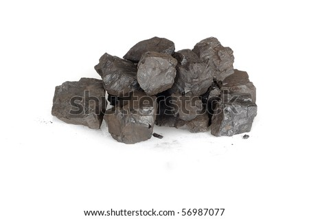 Black coals isolated on the white background